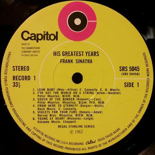 Frank Sinatra His Greatest Years - Lime Green Labels 3-LP vinyl record set (Triple Album) UK FRS3LHI563251