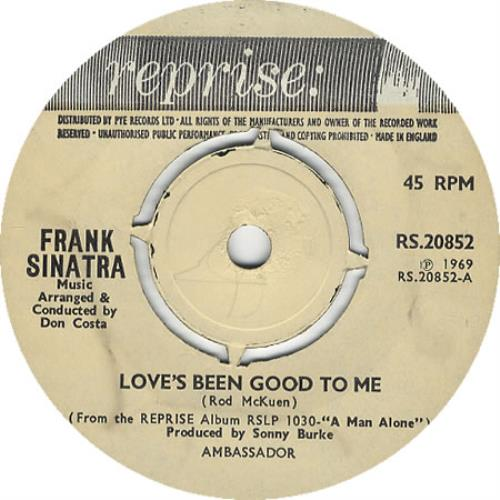 """Frank Sinatra Love's Been Good To Me - 4 prong 7"""" vinyl single (7 inch record) UK FRS07LO408716"""