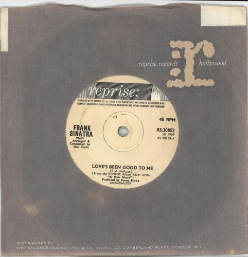 """Frank Sinatra Love's Been Good To Me - Solid 7"""" vinyl single (7 inch record) UK FRS07LO721692"""