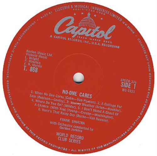 Frank Sinatra No One Cares vinyl LP album (LP record) UK FRSLPNO382421