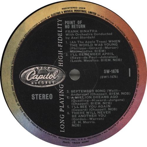 Frank Sinatra Point Of No Return vinyl LP album (LP record) UK FRSLPPO457232