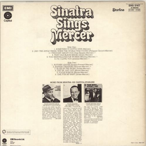 Frank Sinatra Sinatra Sings Mercer vinyl LP album (LP record) UK FRSLPSI563286