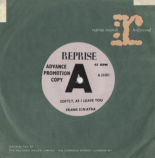 "Frank Sinatra Softly, As I Leave You 7"" vinyl single (7 inch record) UK FRS07SO479868"