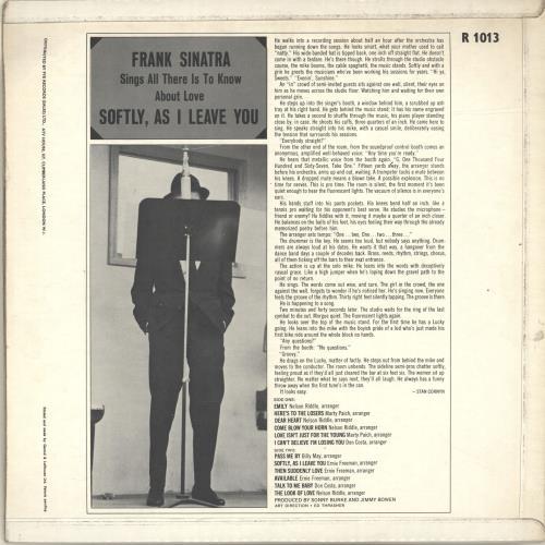 Frank Sinatra Softly, As I Leave You vinyl LP album (LP record) UK FRSLPSO563183