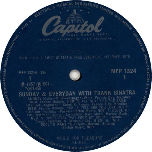Frank Sinatra Sunday And Every Day vinyl LP album (LP record) UK FRSLPSU341138