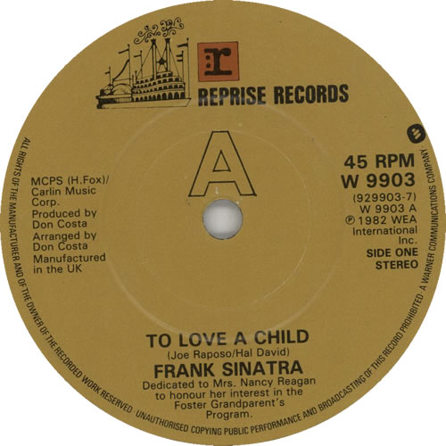 "Frank Sinatra To Love A Child 7"" vinyl single (7 inch record) UK FRS07TO630718"