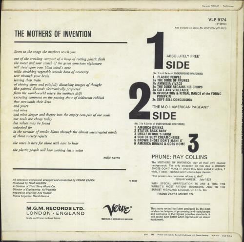 Frank Zappa Absolutely Free Uk Vinyl Lp Album Lp Record