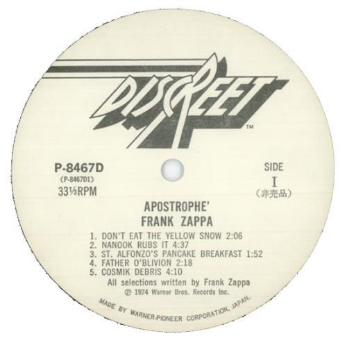 Frank Zappa Apostrophe Japanese Promo Vinyl Lp Album