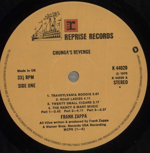 Frank Zappa Chunga's Revenge vinyl LP album (LP record) UK ZAPLPCH299466