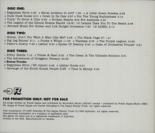 Frank Zappa L 228 Ther Us Promo 3 Cd Album Set Triple Cd 99521