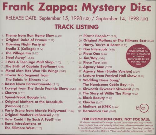 Frank Zappa Mystery Disc Us Promo Cd Album Cdlp 117606