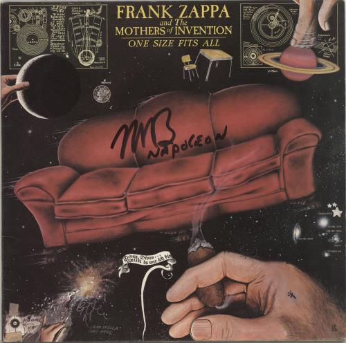 Frank Zappa One Size Fits All - Autographed vinyl LP album (LP record) UK ZAPLPON689851