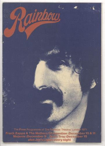 Frank Zappa Rainbow + Ticket Stub tour programme UK ZAPTRRA737748
