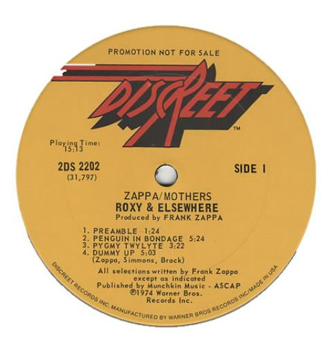 Frank Zappa Roxy Amp Elsewhere Us Promo 2 Lp Vinyl Record