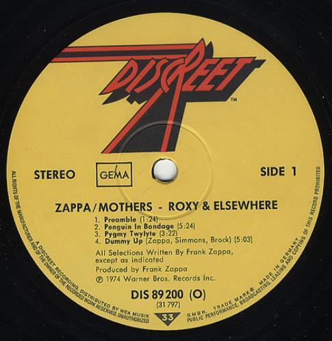 Frank Zappa Roxy & Elsewhere 2-LP vinyl record set (Double Album) German ZAP2LRO357674
