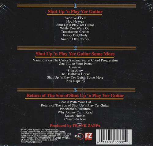 Frank Zappa Shut Up N Play Yer Guitar Us 3 Cd Album Set