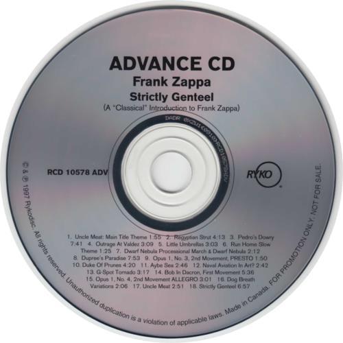 Frank Zappa Strictly Genteel Us Promo Cd Album Cdlp 99619