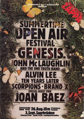 Frank Zappa Summertime Open Air Festival tour programme German ZAPTRSU692427