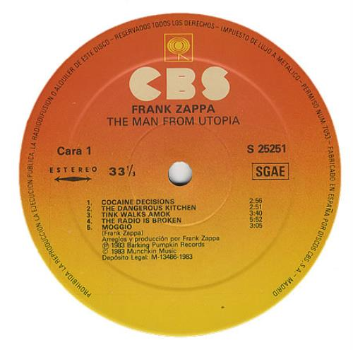 Frank Zappa The Man From Utopia vinyl LP album (LP record) Spanish ZAPLPTH374683