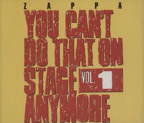 Frank Zappa You Can't Do That On Stage Vol 1 2 CD album set (Double CD) UK ZAP2CYO755081