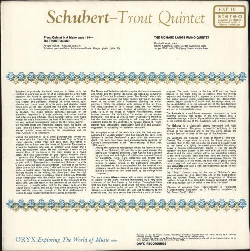 Franz Schubert Trout Quintet vinyl LP album (LP record) UK FT2LPTR721054