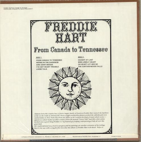 Freddie Hart From Canada To Tennessee vinyl LP album (LP record) US 1FHLPFR699579