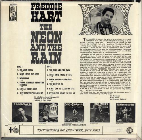 Freddie Hart The Neon And The Rain vinyl LP album (LP record) US 1FHLPTH699052