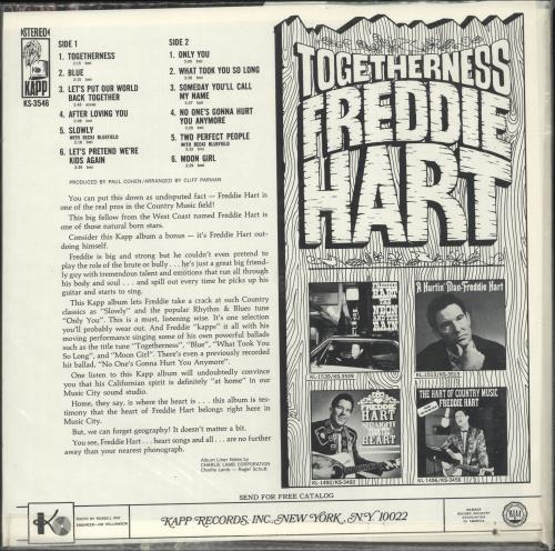 Freddie Hart Togetherness vinyl LP album (LP record) US 1FHLPTO699161