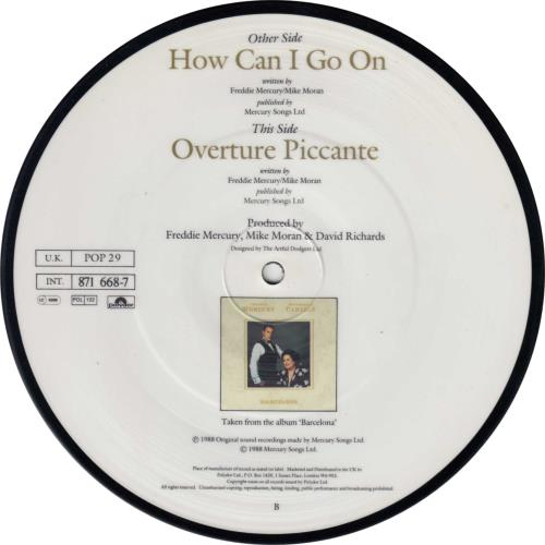 """Freddie Mercury How Can I Go On 7"""" vinyl picture disc 7 inch picture disc single UK MER7PHO18576"""