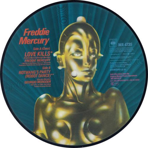 "Freddie Mercury Love Kills 7"" vinyl picture disc 7 inch picture disc single UK MER7PLO08437"
