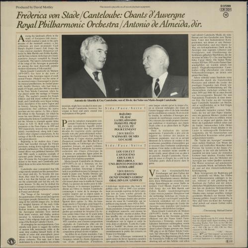 Frederica von Stade Canteloube: Chants D'Auvergne, Album I vinyl LP album (LP record) Dutch ZRHLPCA713909