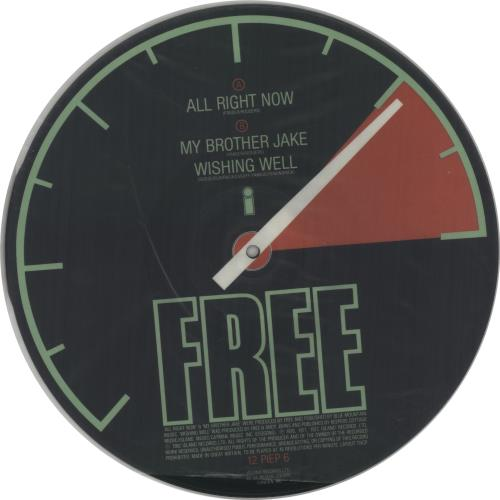 """Free All Right Now 12"""" vinyl picture disc 12inch picture disc record UK FRE2PAL45367"""