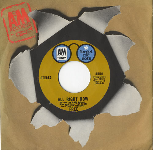 """Free All Right Now 7"""" vinyl single (7 inch record) US FRE07AL597722"""