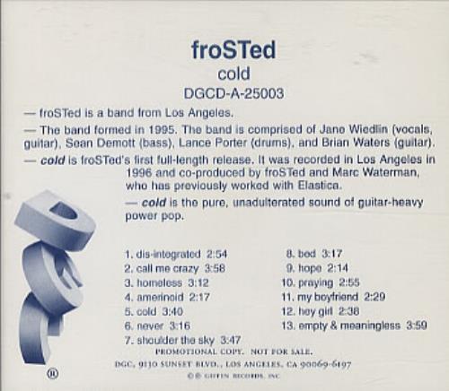 Frosted Cold CD album (CDLP) US FSDCDCO334046