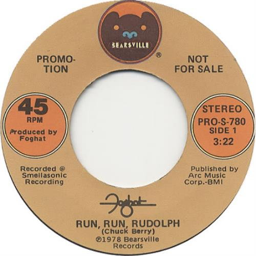 "Foghat Run, Run, Rudolph 7"" vinyl single (7 inch record) US FGH07RU409025"