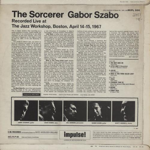 Gabor Szabo The Sorcerer vinyl LP album (LP record) UK GFWLPTH754429