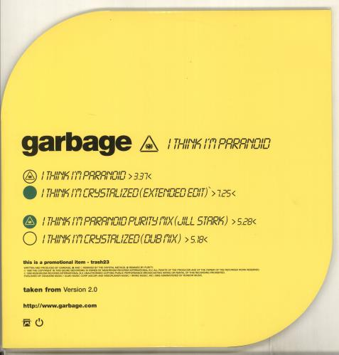 "Garbage I Think I'm Paranoid - Promo 12"" vinyl single (12 inch record / Maxi-single) UK GBG12IT118558"