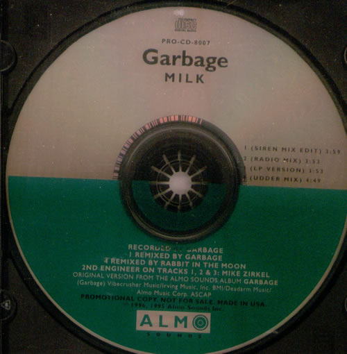 """Garbage Milk CD single (CD5 / 5"""") US GBGC5MI78552"""