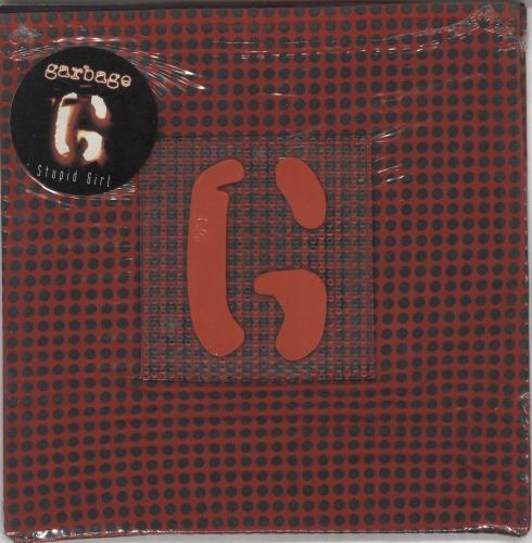 "Garbage Stupid Girl - Red Fabric Sleeve - Opened shrink 7"" vinyl single (7 inch record) UK GBG07ST716604"