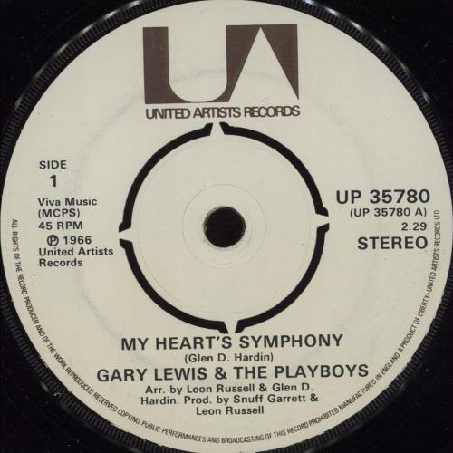 "Gary Lewis & The Playboys My Heart's Symphony 7"" vinyl single (7 inch record) UK GRL07MY561261"