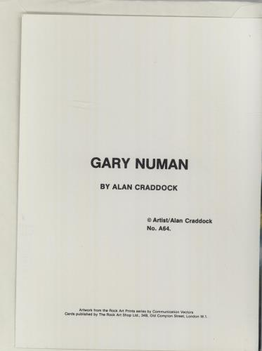 Gary Numan Greeting Card memorabilia UK NUMMMGR675380