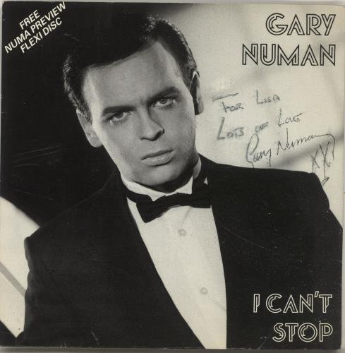 "Gary Numan I Can't Stop - Autographed 7"" vinyl single (7 inch record) UK NUM07IC696131"