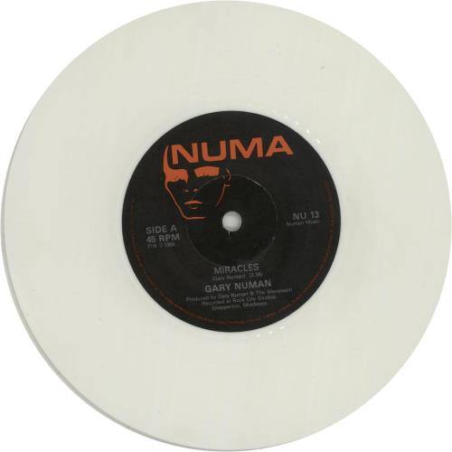 "Gary Numan Miracles - White Vinyl 7"" vinyl single (7 inch record) UK NUM07MI224257"