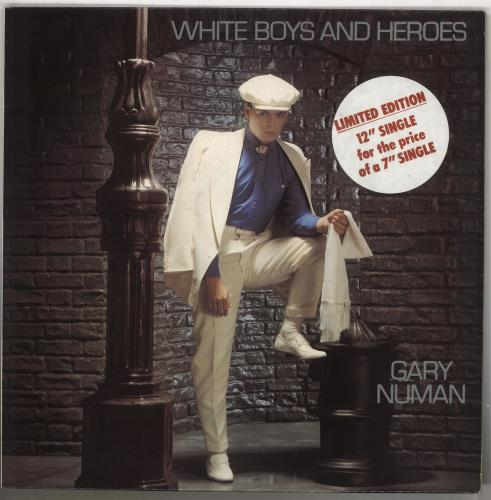 "Gary Numan White Boys And Heroes - Stickered 12"" vinyl single (12 inch record / Maxi-single) UK NUM12WH740323"