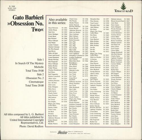 Gato Barbieri Obsession No. Two vinyl LP album (LP record) German GB6LPOB727069