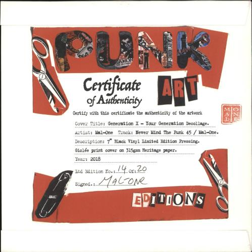 "Generation X Your Generation - Punk Art sleeve 7"" vinyl single (7 inch record) UK GEX07YO708109"