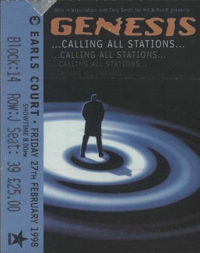 Genesis Calling All Stations + Ticket Stub tour programme UK GENTRCA721539