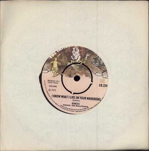 "Genesis I Know What I Like (In Your Wardrobe) - 4pr 7"" vinyl single (7 inch record) UK GEN07IK416351"