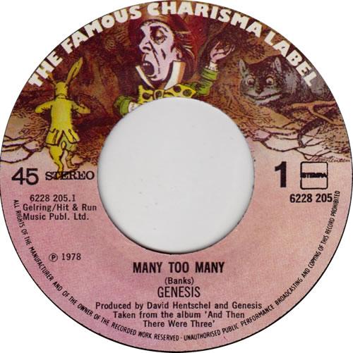 "Genesis Many Too Many 7"" vinyl single (7 inch record) Dutch GEN07MA609188"