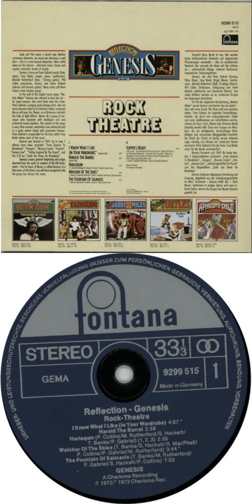 Genesis Reflection Genesis - Rock Theatre vinyl LP album (LP record) German GENLPRE210019